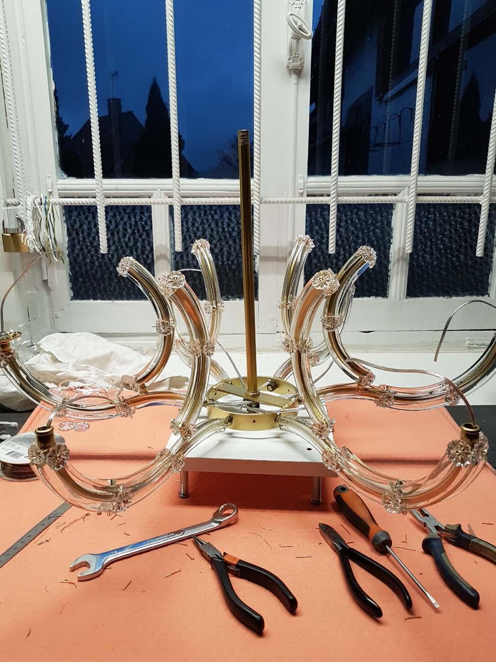 câblage-remontage-plaquettes-rosaces-lustre-marie-thérèse