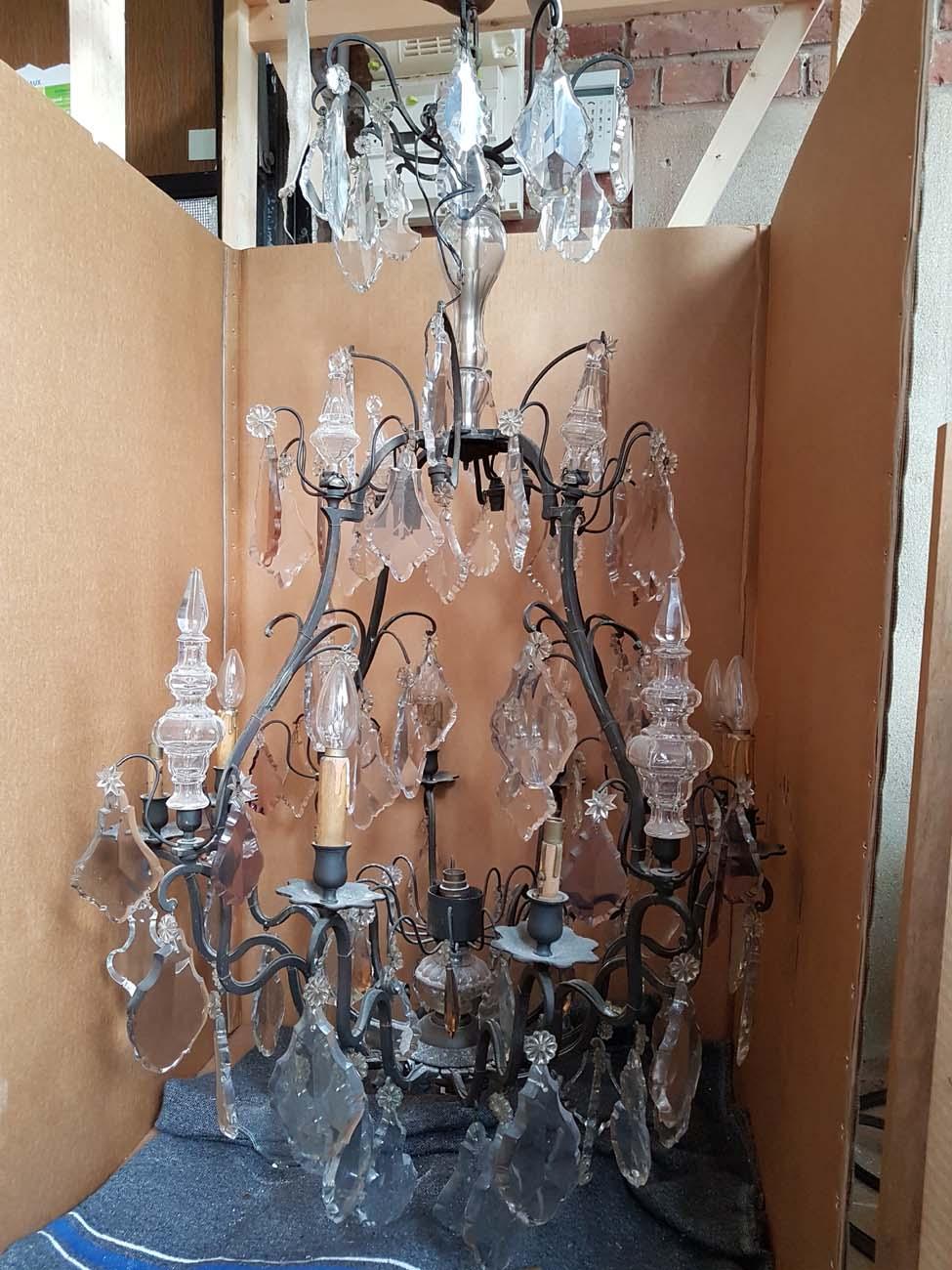 Lustre bronze et cristal 15 lumières