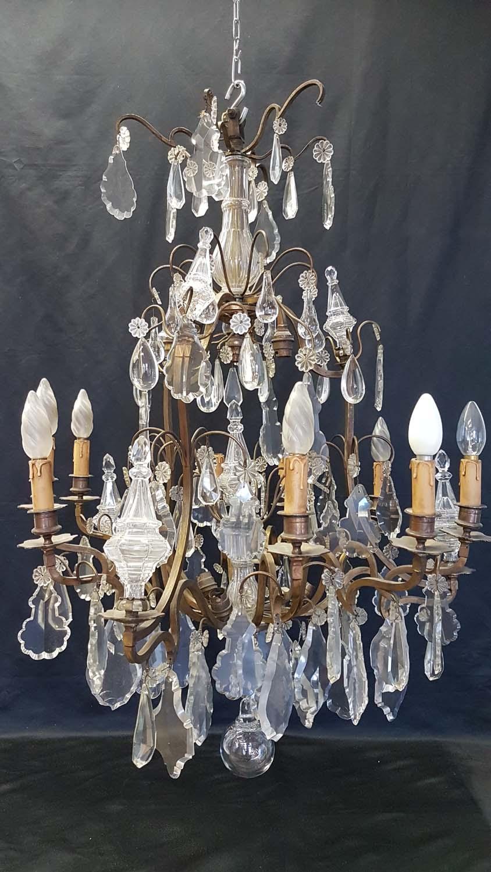 Lustre bronze et cristal 16 lumières